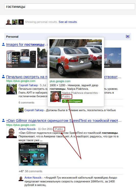 Информация о приватности контента: публичный, ограниченный доступ или только для вас