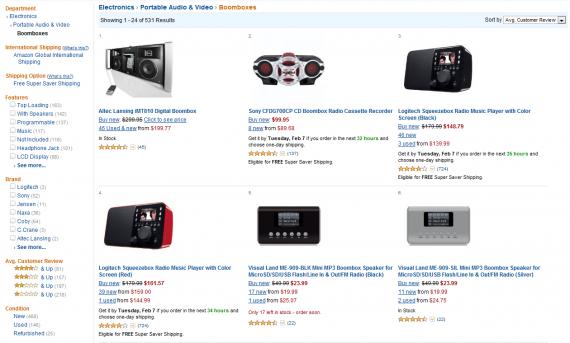 Страница каталога на сайте Amazon