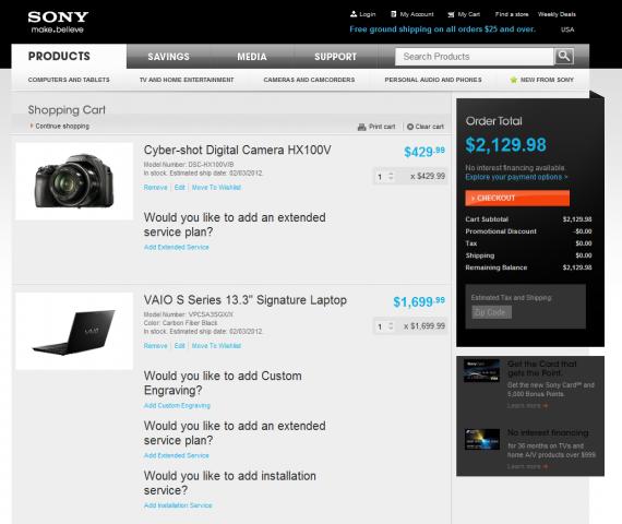 Пример корзины в интернет-представительстве Sony